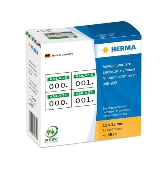 HERMA 4834 Anlagenummern selbstklebend 2-fach 15x22 mm Aufdruck grün 0-999