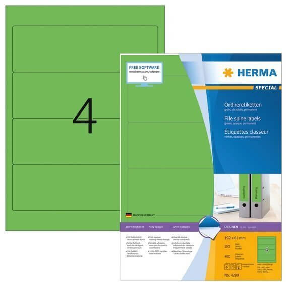 HERMA 4299 Ordneretiketten A4 192x61 mm grün Papier matt blickdicht 400 Stück