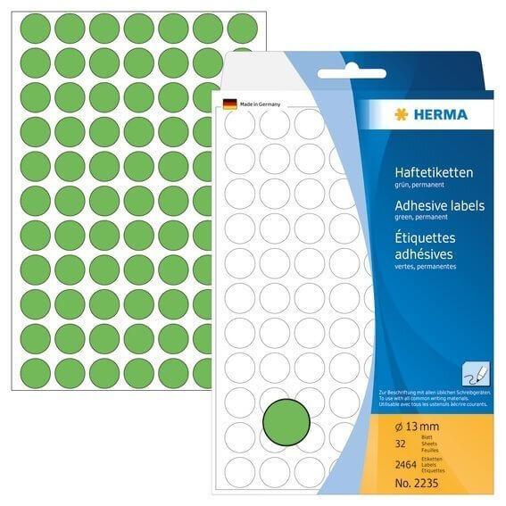 HERMA 2235 Vielzwecketiketten/Farbpunkte Ø 13 mm rund Papier matt Handbeschriftung 2464 Stück Grün