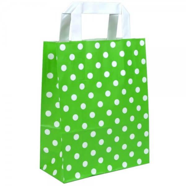 Papiertragetaschen 22 + 10 x 28 Grün gepunktet