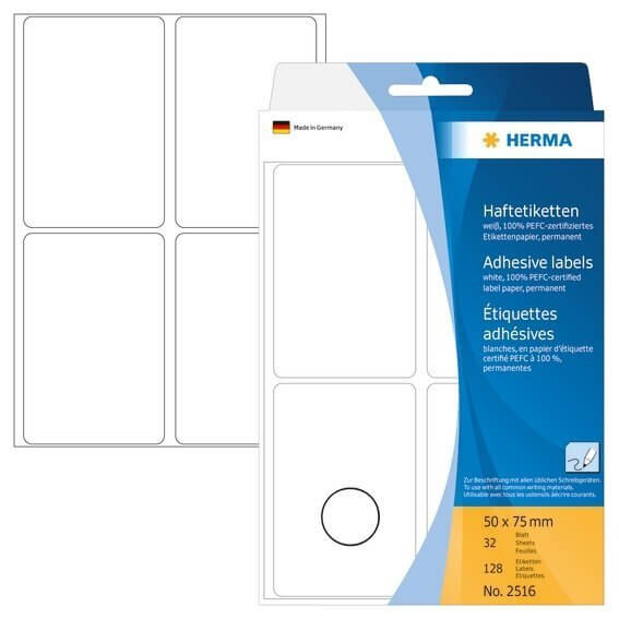 HERMA 2516 Vielzwecketiketten 50 x 75 mm Papier matt Handbeschriftung 128 Stück Weiß