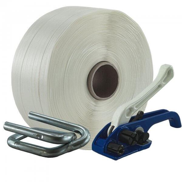 Umreifungsset 25 mm Textil Bandspanner Metallklemmen verzinkt