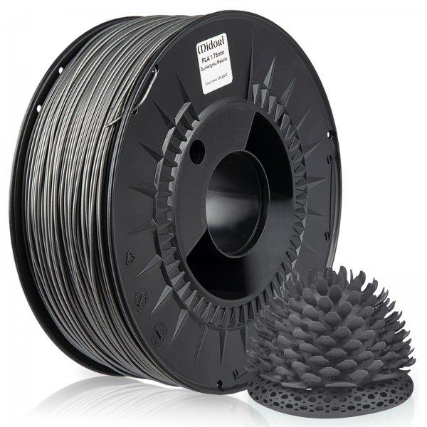 Midori® 3D PLA Filament 1,75mm 1kg Spule Dunkelgrau Metallic