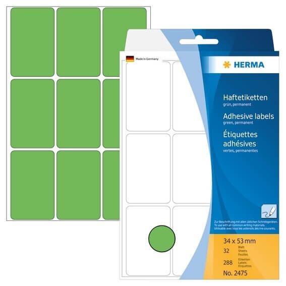 HERMA 2475 Vielzwecketiketten 34 x 53 mm Papier matt Handbeschriftung 288 Stück Grün