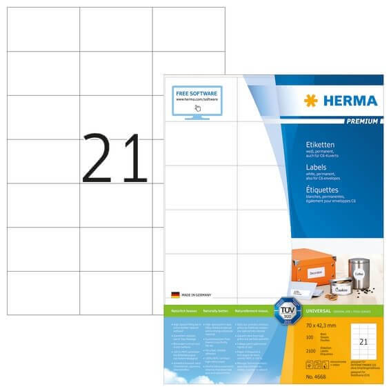 HERMA 4668 Etiketten Premium A4 70x423 mm weiß Papier matt 2100 Stück