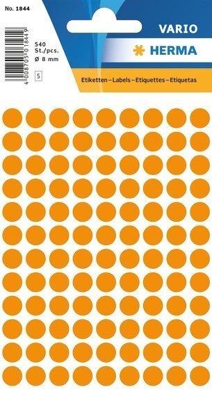 HERMA 1844 Vielzwecketiketten Ø 8 mm rund Papier matt 5400 Stück Leuchtorange