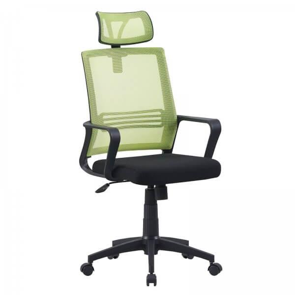 MIDORI® Bürostuhl mit Lordosenstütze Drehstuhl Bürosessel Mesh Netz Schwarz/Grün