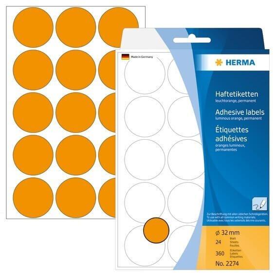 HERMA 2274 Vielzwecketiketten/Farbpunkte Ø 32 mm rund Papier matt Handbeschriftung 360 Stück Leuchto