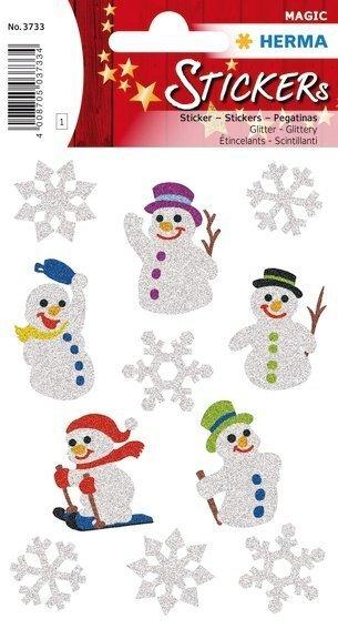 HERMA 3733 10x Sticker MAGIC Schneemänner glittery