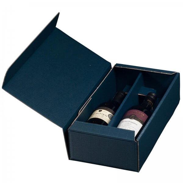 Geschenkkarton für 2 Flaschen Wein 192 x 95 x 360 mm Blau