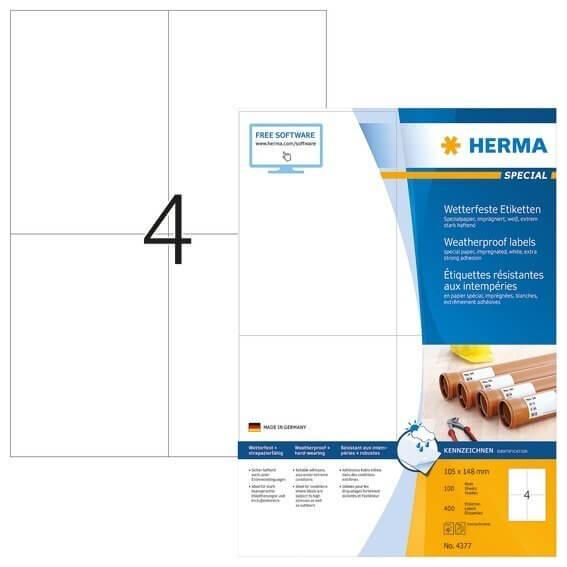 HERMA 4377 Etiketten A4 105x148 mm weiß extrem stark haftend Papier imprägniert 400 Stück