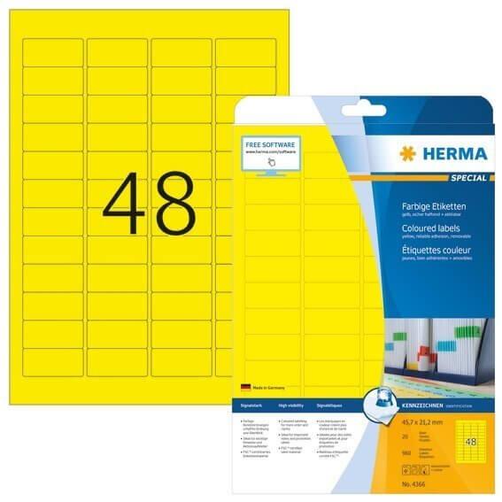 HERMA 4366 Farbige Etiketten A4 457x212 mm gelb ablösbar Papier matt 960 Stück