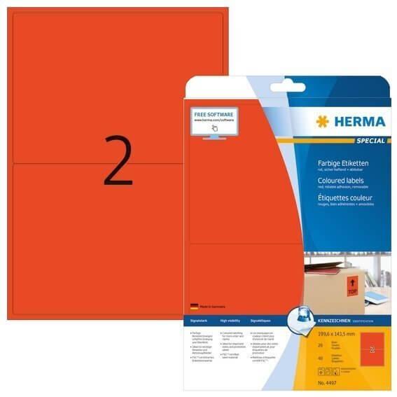 HERMA 4497 Farbige Etiketten A4 1996x1435 mm rot ablösbar Papier matt 40 Stück