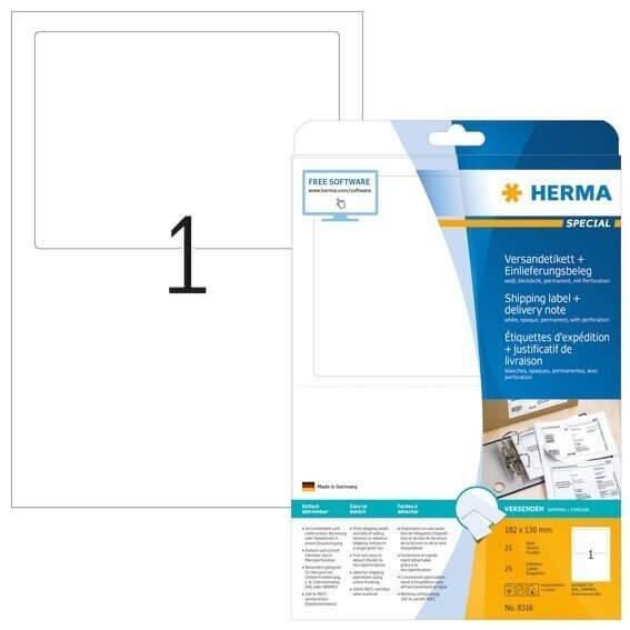 HERMA 8316 Versandetikett + Einlieferungsbeleg A4 182x130 mm weiß Papier matt blickdicht 25 Stück