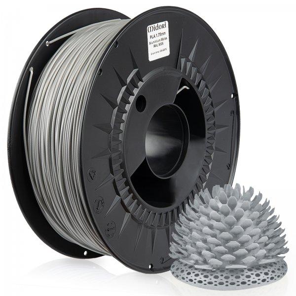Midori® 3D PLA Filament 1,75mm 1kg Spule Aluminium Weiß RAL9006