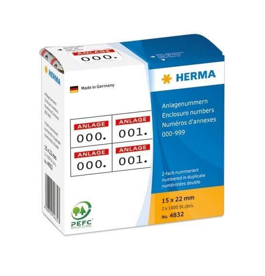 HERMA 4832 Anlagenummern selbstklebend 2-fach 15x22 mm Aufdruck rot 0-999