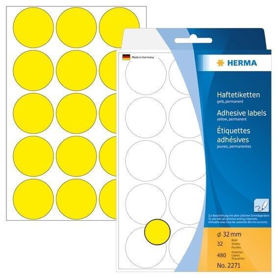 HERMA 2271 Vielzwecketiketten/Farbpunkte Ø 32 mm rund Papier matt Handbeschriftung 480 Stück Gelb