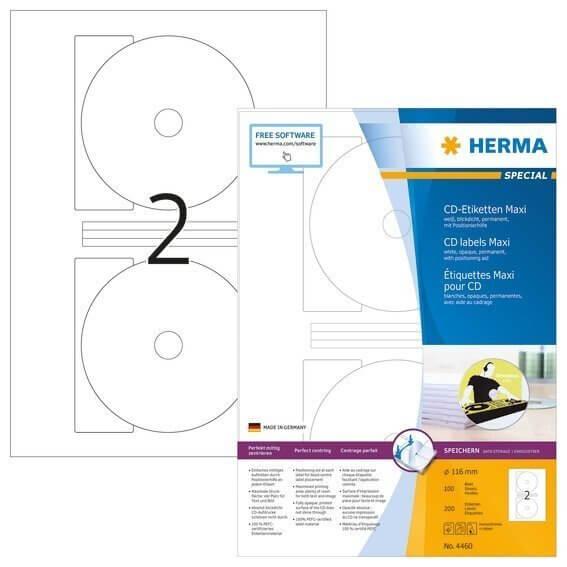 HERMA 4460 CD-Etiketten Maxi A4 Ø 116 mm weiß Papier matt blickdicht 200 Stück