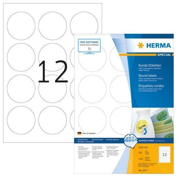 HERMA 4477 Ablösbare Etiketten A4 Ø 60 mm rund weiß Movables/ablösbar Papier matt 1200 Stück