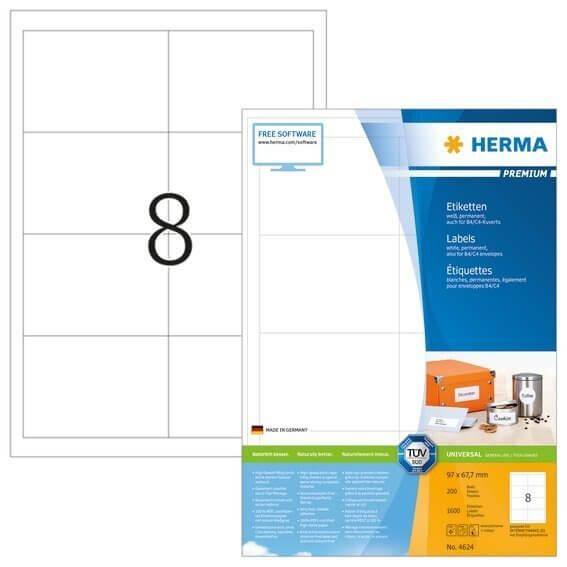 HERMA 4624 Etiketten Premium A4 97x677 mm weiß Papier matt 1600 Stück