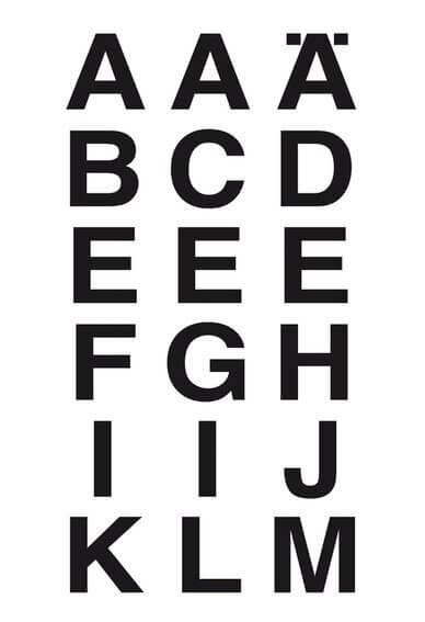 HERMA 4135 Buchstaben 20x20 mm A-Z wetterfest Folie transparent schwarz 20 Bl.