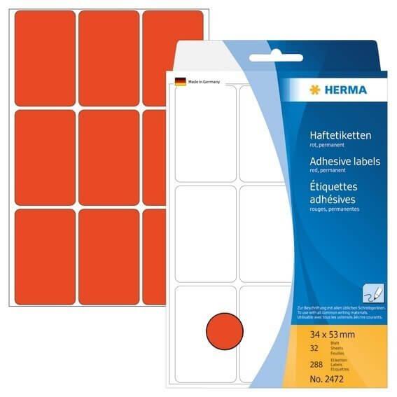 HERMA 2472 Vielzwecketiketten 34 x 53 mm Papier matt Handbeschriftung 288 Stück Rot