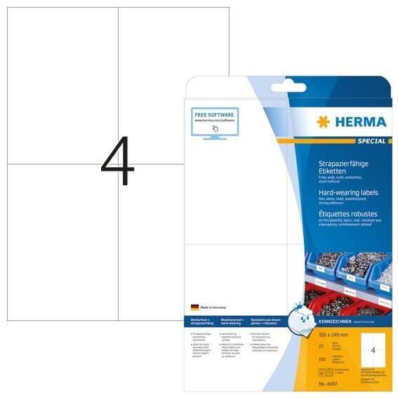 HERMA 4697 Etiketten strapazierfähig A4 105x148 mm weiß stark haftend Folie matt wetterfest 100 Stüc