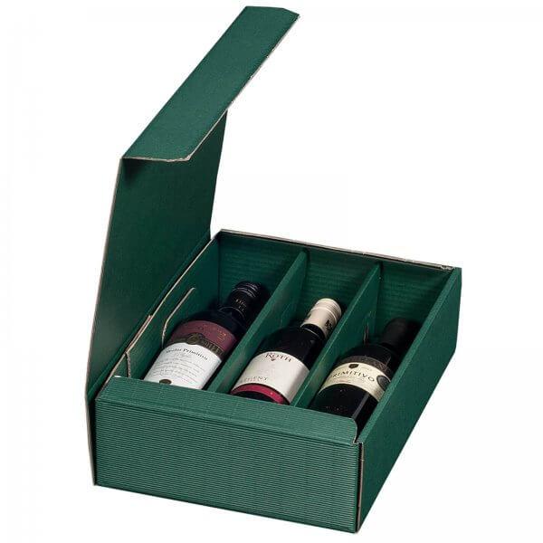 Geschenkkarton für 3 Flaschen Wein 252 x 96 x 363 mm Grün