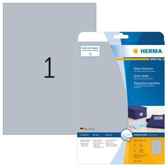 HERMA 4117 Etiketten A4 210x297 mm silber Folie glänzend 25 Stück