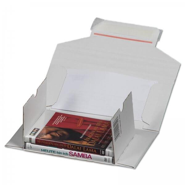 CD/DVD-Versandverpackung in DIN lang für 1-3 Jewel-Cases 192 x 145 x 30 mm Weiß mit Fenster