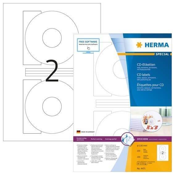 HERMA 4471 CD-Etiketten A4 Ø 116 mm weiß Papier matt blickdicht 200 Stück