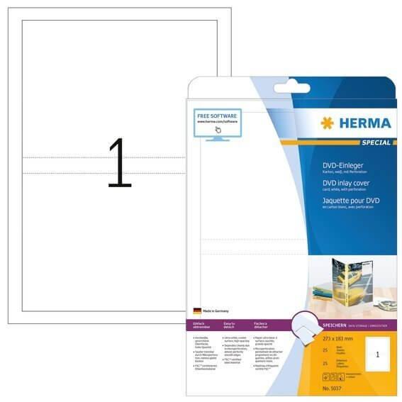HERMA 5037 DVD-Einleger A4 273x183 mm weiß Karton perforiert nicht klebend 25 Stück
