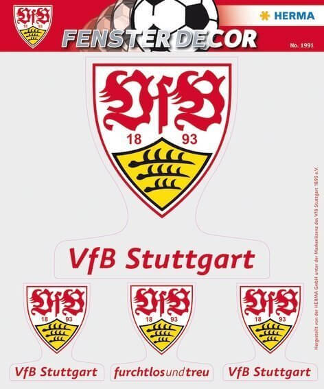 HERMA 1991 Fensterdecor VfB 25 x 35 cm Logos