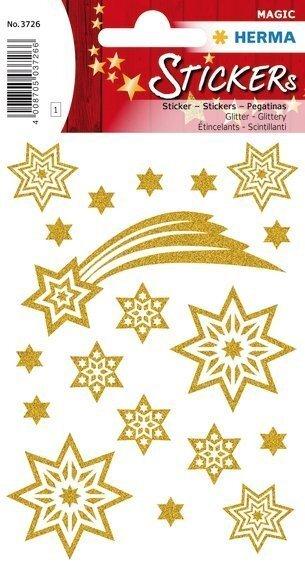 HERMA 3726 10x Sticker MAGIC Sterne + Schweif glittery