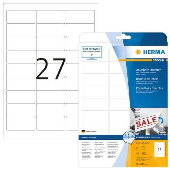 HERMA 4347 Ablösbare Etiketten A4 635x296 mm weiß Movables/ablösbar Papier matt 675 Stück