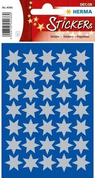 HERMA 4086 10x Sticker DECOR Sterne 6-zackig silber Ø 16 mm