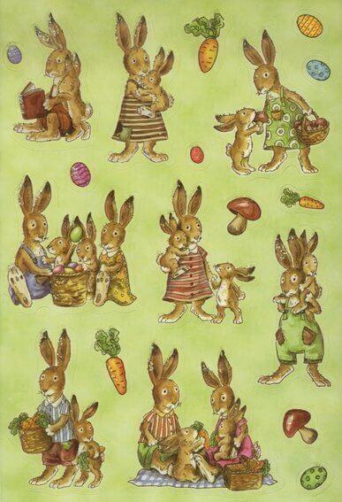 HERMA 3674 10x Sticker DECOR Hasenfamilie beglimmert