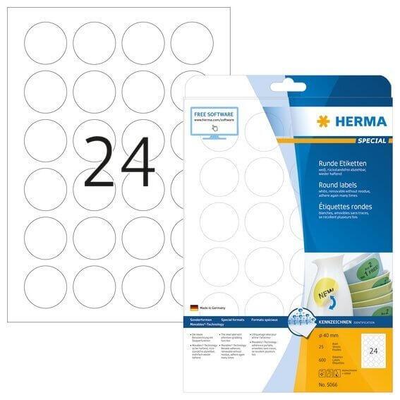 HERMA 5066 Ablösbare Etiketten A4 Ø 40 mm rund weiß Movables/ablösbar Papier matt 600 Stück