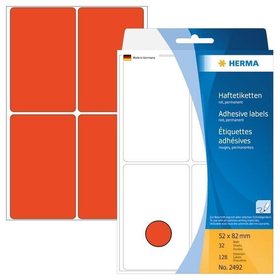 HERMA 2492 Vielzwecketiketten 52 x 82 mm Papier matt Handbeschriftung 128 Stück Rot