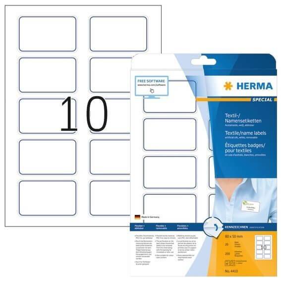 HERMA 4410 Namensetiketten A4 800x500 mm weiß/blauer Rand ablösbar Acetatseide 200 Stück