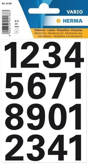 HERMA 4168 Zahlen 25 mm 0-9 wetterfest Folie schwarz 20 Bl.