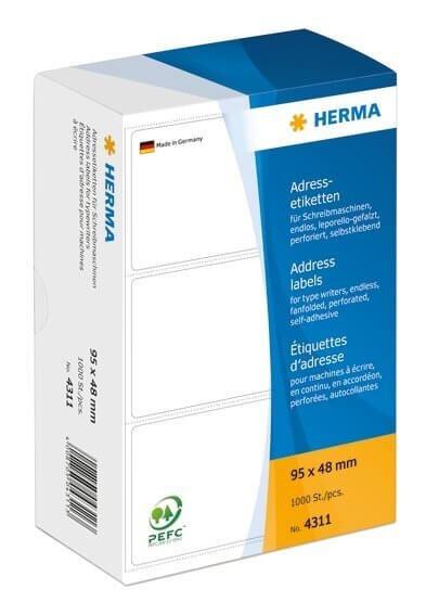 HERMA 4311 Adressetiketten für Schreibmaschinen endlos leporello-gefalzt 95x48 mm weiß Papier matt 1