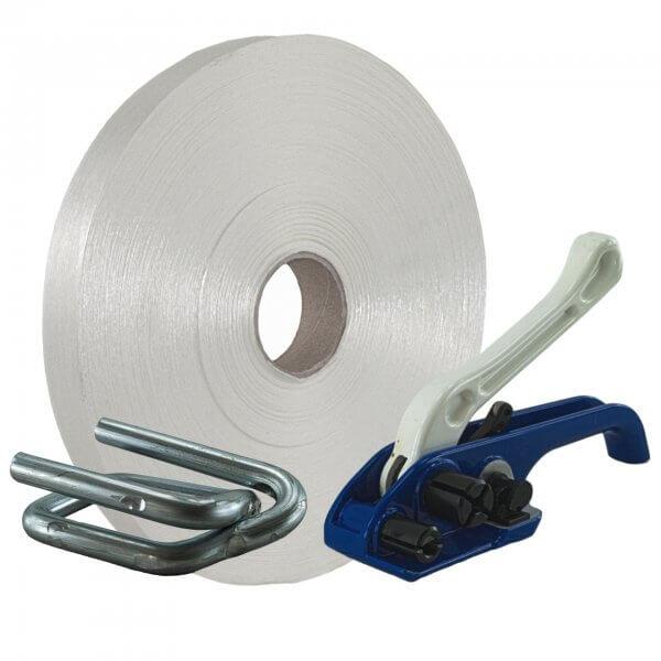 Umreifungsset 35 mm Textil Bandspanner Metallklemmen verzinkt