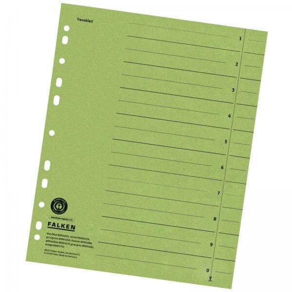 Trennblätter DIN A4 aus Manilakarton 230 g/m² Grün