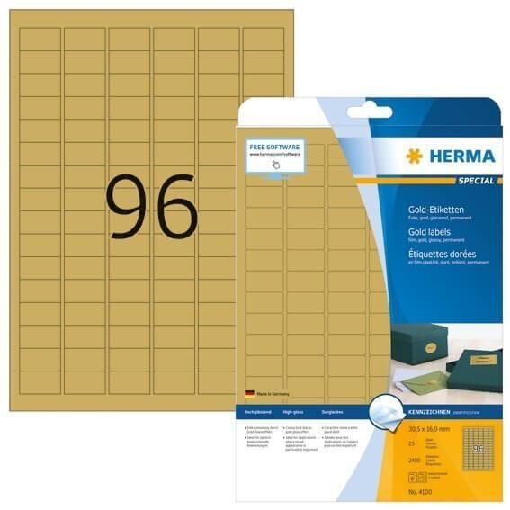 HERMA 4100 Etiketten A4 30,5x16,9 mm gold Folie glänzend 2400 Stück