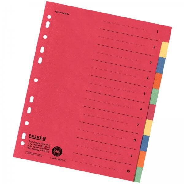 Karton-Register DIN A4 aus Manilakarton 220 g/m² 10-teilig 5-farbig