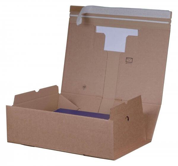 Versandkarton 298 x 215 x 43 mm mit Fach, Selbstklebeverschluss & Aufreißfaden