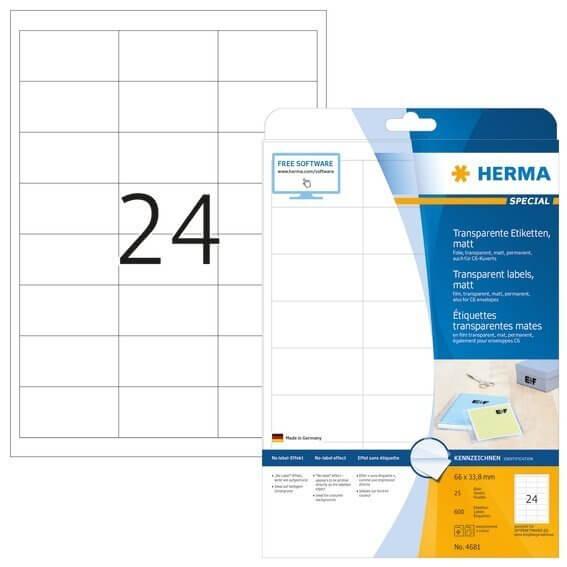 HERMA 4681 Etiketten transparent matt A4 66x338 mm Folie 600 Stück