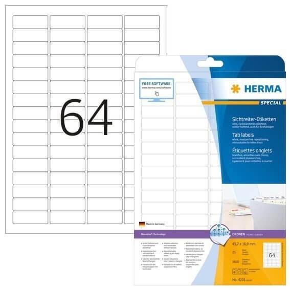 HERMA 4201 Sichtreiteretiketten A4 45,7x16,9 mm weiß Movables/ablösbar Papier matt 1600 Stück
