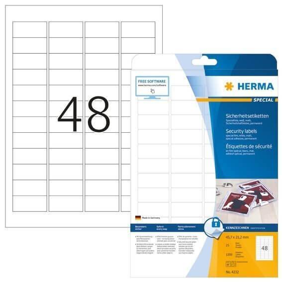 HERMA 4232 Sicherheitsetiketten A4 45,7x21,2 mm weiß extrem stark haftend Folie matt 1200 Stück
